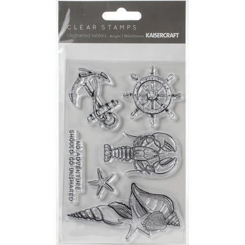 "Kaisercraft UNCHARTED WATERS Clear Acrylic Stamps 4""X6"" 6pc Scrapbooksrus"