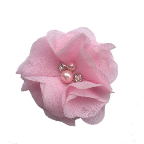 Pink Chiffon Fabric Flower Pearl Rhinestone Center @Scrapbooksrus