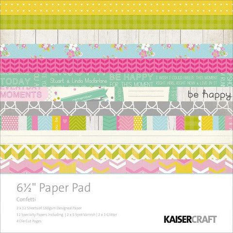 "Kaisercraft 6.5""X6.5"" Paper Pad CONFETTI Collection 40 Sheets - Scrapbook Kyandyland"