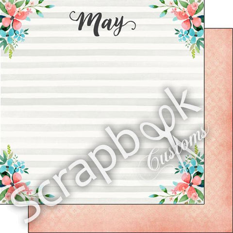 "MAY MEMORIES 12""X12"" Scrapbook Customs Paper"
