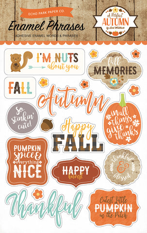 Echo Park A PERFECT AUTUMN Enamel Phrases Adhesive Words