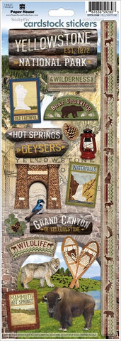 Paper House YELLOWSTONE Cardstock Stickers 17pc Scrapbooksrus