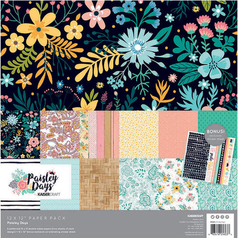"Kaisercraft 13pc 12""X12"" PAISLEY DAYS Scrapbook Paper Pack Scrapbooksrus"