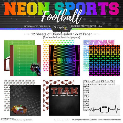 "Neon Sports FOOTBALL KIT 12""X12"" Scrapbook Paper 12 Sheets"