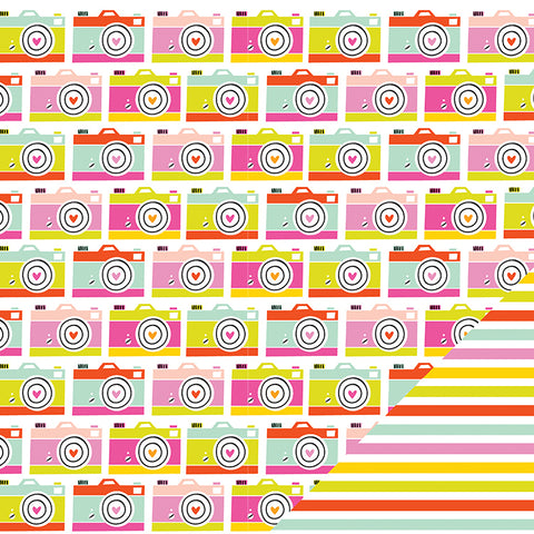 "Imaginisce Sunny CAMERA LOVE 12""X12"" Travel Scrapbook Paper"