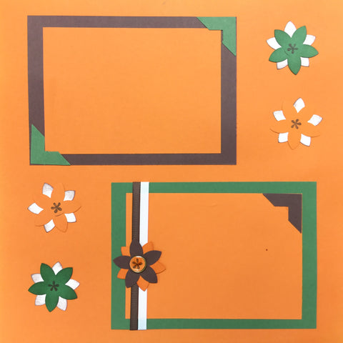 "$5.00 Premade Pages FALL FLOWERS (2) 12""X12"" Scrapbook Pages Scrapbooksrus"