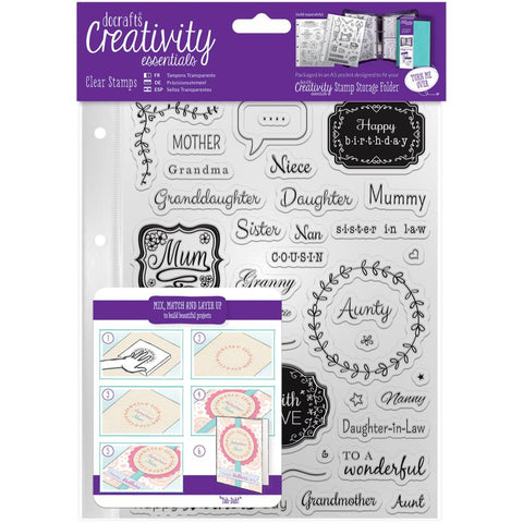 DoCrafts Creativity Essentials FEMALE FAMILY Clear Stamps