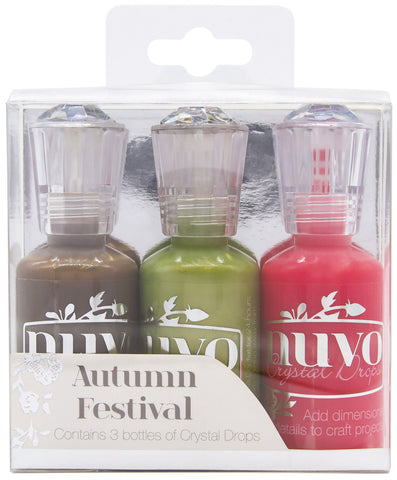 Nuvo Crystal Drops AUTUMN FESTIVAL 3D Gloss Enamel Dots 1oz 3 Bottles Scrapbooksrus
