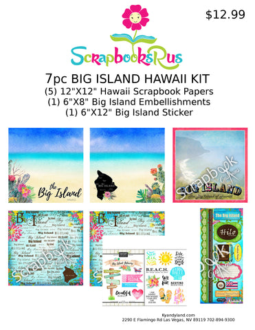 Hawaii Big Island 7pc Scrapbook Kit