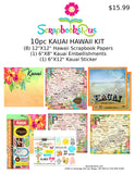 Hawaii 10pc KAUAI Scrapbook Kit Paper Stickers