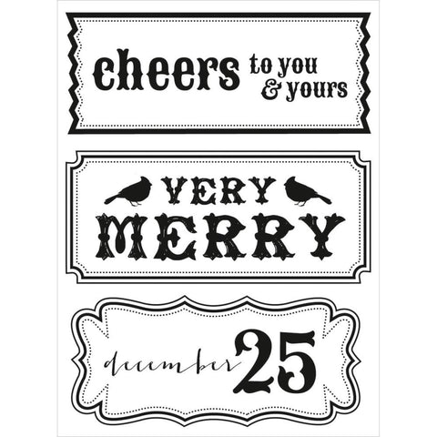 "Kaisercraft Holly Bright CHEERS Clear Holiday Stamps 3.5""X6"""