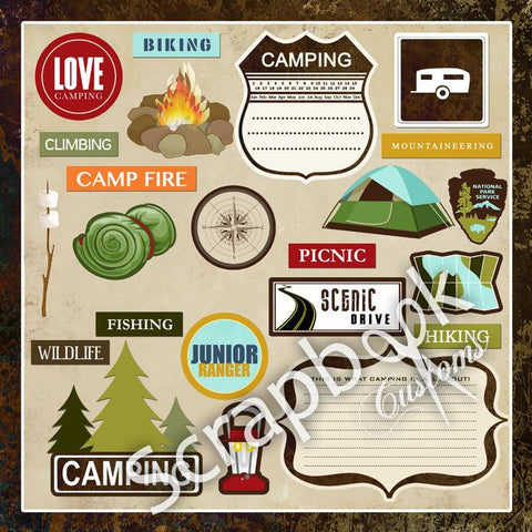 "Camp LOVELY CAMPING Stickers 12""X12"" Scrapbook Customs"