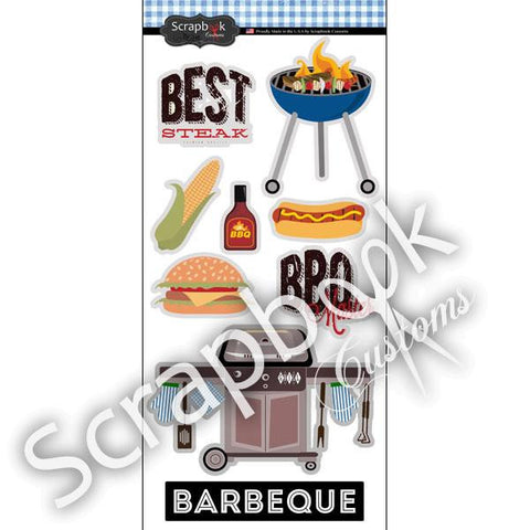 Scrapbook Customs BARBEQUE Stickers BBQ 9pc