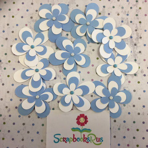 Layered Flowers BLUE AND WHITE Handmade Die Cuts