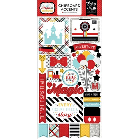 "Echo Park 6""x12"" MAGIC AND WONDER CHIPBOARD Accents Sticker 28pc"