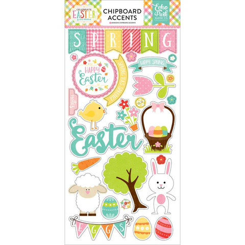 "Echo Park 6""x12"" CELEBRATE EASTER CHIPBOARD Accents Sticker 31pc"