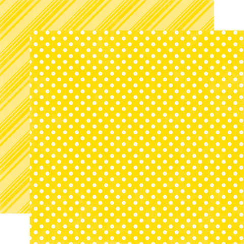 "Echo Park Dots & Stripes LEMON 12""X12"" Scrapbook Paper"