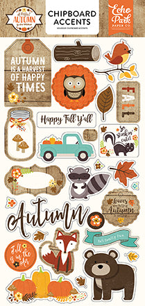 "Echo Park 6""x12"" A PERFECT AUTUMN CHIPBOARD Accents Sticker 28pc"
