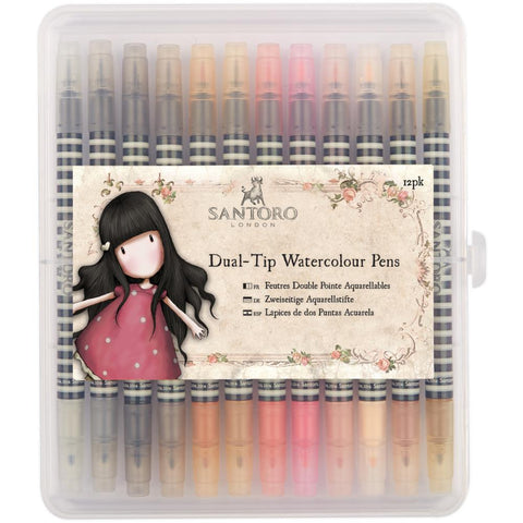 Santoro NEUTRALS Dual Tip Watercolor Pens 12pk