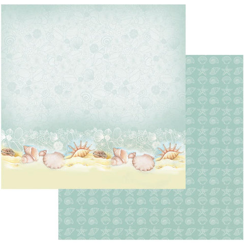 "Couture Creations Sea Breeze Collection SEA SHELLS ON A SEASHORE 12""X 12"" Scrapbook Paper"