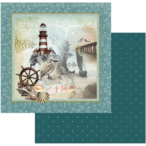 "Couture Creations Sea Breeze Collection ON THE ROCKS 12""X 12"" Scrapbook Paper"