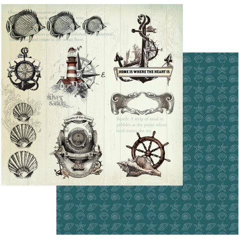 "Couture Creations Sea Breeze Collection SECRETS OF THE OCEAN 12""X 12"" Scrapbook Paper"