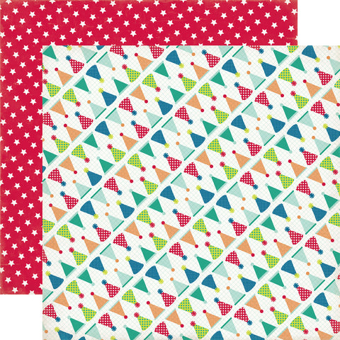 "Echo Park Birthday Wishes Boy HATS 12""X12"" Scrapbook Paper"