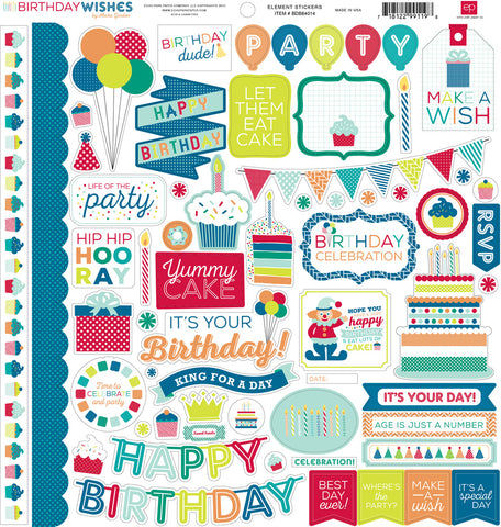 "Echo Park Birthday Wishes Boy ELEMENT STICKER 12""X12"" Scrapbook Sheet"