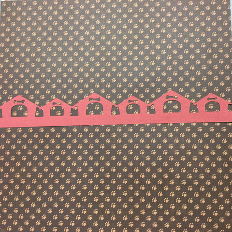 "Pet DOG HOUSE Diecut Border Red 2.5""X12"""
