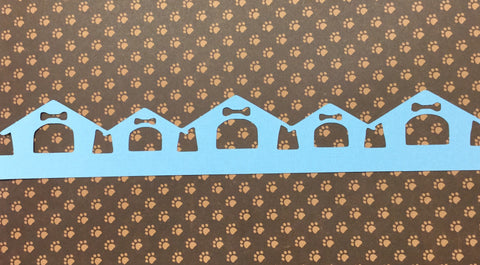 "Pet DOG HOUSE Diecut Border Blue 2.5""X12"""