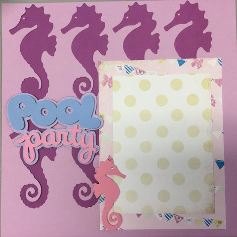 Premade Page (1) 12X12 SEAHORSE POOL PARTY Scrapbook @Scrapbooksrus
