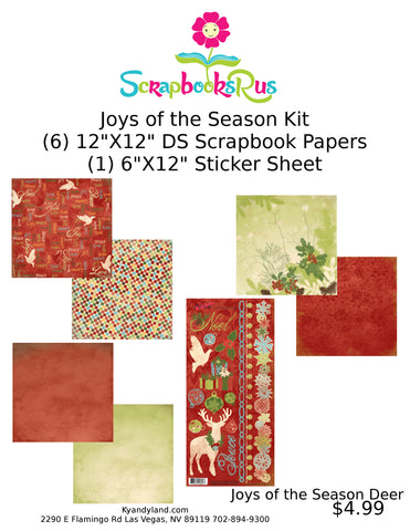 "JOYS OF THE SEASON DEER Scrapbook Kit 12""X12"" 7pc Scrapbooksrus"