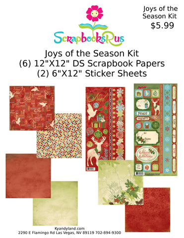 "JOYS OF THE SEASON Scrapbook Kit 12""X12"" 8pc Scrapbooksrus"