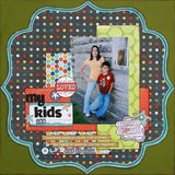 "My Mind's Eye Lime Twist REMEMBER DOTS 12""X12"" Cardstock Paper - Scrapbook Kyandyland"