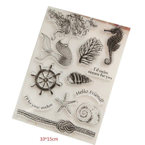 MERMAID I'd Swim Oceans for You Clear Acrylic Stamp Set 11pc