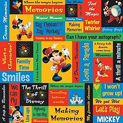 "Disney Sandylion MICKEY PHRASES 12""X12"" Scrapbook Paper Sheet - Scrapbook Kyandyland"