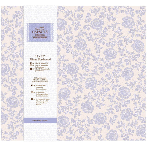 "Papermania Scrapbook FRENCH LAVENDER 12""X12"" Fabric Postbound Album"