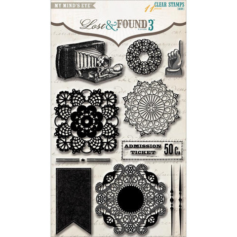My Mind's Eye Lost & Found 3 RUBY Doily Clear Acrylic Stamps 11pc
