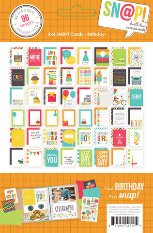 "Simple Stories SNAP BIRTHDAY Sn@p Cards 4""X6"" 24pc - Scrapbook Kyandyland"