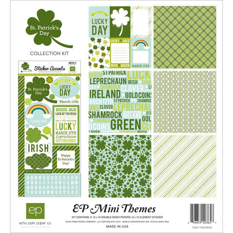 Echo Park ST. PATRICK'S DAY Mini Themes Scrapbook Collection Paper Sticker Kit