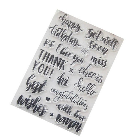 CURSIVE SCRIPT SENTIMENTS Clear Acrylic Stamp Set 19pc