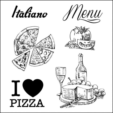 ScrapBerry's Discover Italy MENU Clear Acrylic Stamp Set 6pc