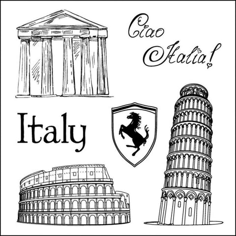 ScrapBerry's Discover ITALY Clear Acrylic Stamp Set 6pc