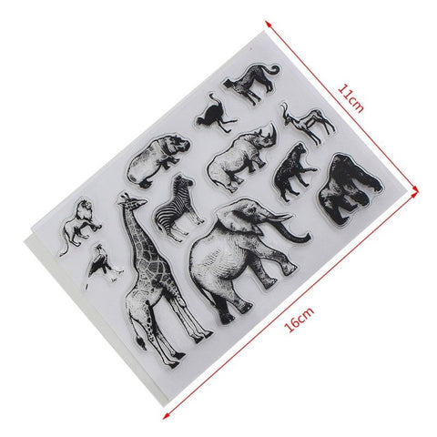 ZOO ANIMALS Clear Acrylic Stamp Set 12pc
