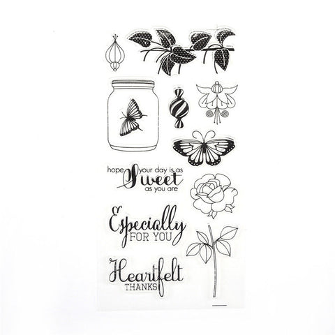 BUTTERFLIES & FLOWERS Sweet Especially Clear Acrylic Stamp Set 12pc