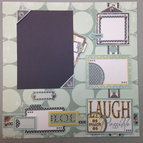 Page Kit (2) 12x12 Scrapbook LAUGH OUT LOUD - Scrapbook Kyandyland