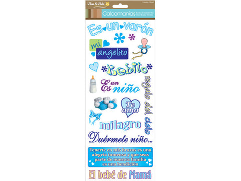 Viva la Vida Calcomanias ES UN VARON Clear Spanish Baby Boy Stickers 6x12 Scrapbooksrus