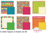 We R Memory Keepers 6pc FUNFETTI PAPER KIT Scrapbook Sheets #2 - Scrapbook Kyandyland