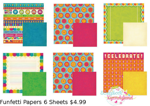 We R Memory Keepers 6pc FUNFETTI PAPER KIT Scrapbook Sheets #2 - Scrapbooksrus