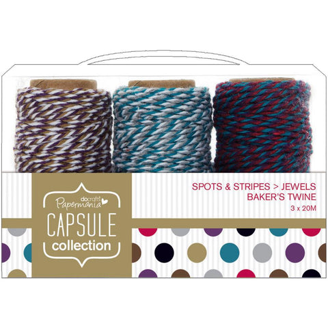 Docrafts Papermania SPOTS & STRIPES JEWELS Bakers Twine 3pc - Scrapbook Kyandyland